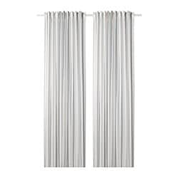 ÄDELSPINNARE curtains, 1 pair, white, striped