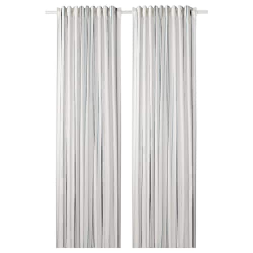ÄDELSPINNARE curtains, 1 pair white/striped 250 cm 145 cm 1.08 kg 3.63 m² 2 pack