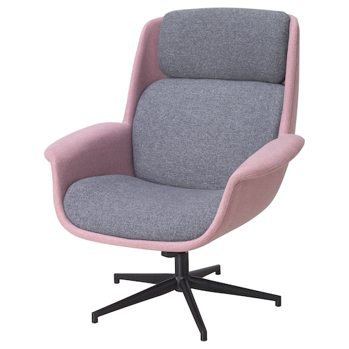 ÄLEBY swivel armchair Gunnared light brown-pink/medium grey 86 cm 88 cm 101 cm 56 cm 51 cm 43 cm