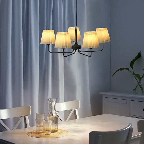 ÄNGLAND chandelier, 5-armed dark grey/fabric 82 cm 1.2 m