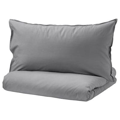 ÄNGSLILJA Quilt cover and 2 pillowcases, grey, 200x230/50x80 cm