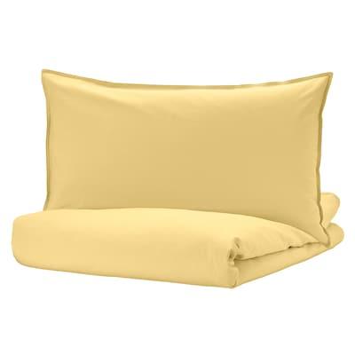 ÄNGSLILJA Quilt cover and pillowcase, light yellow, 150x200/50x80 cm