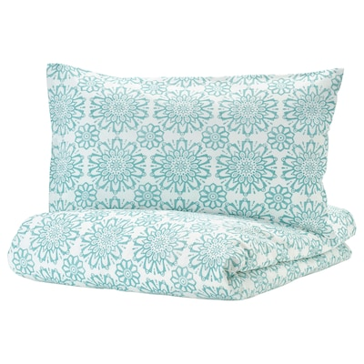 ÄNGSSALVIA Quilt cover and 2 pillowcases, white/turquoise, 200x230/50x80 cm