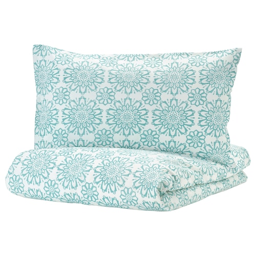 ÄNGSSALVIA Quilt cover and pillowcase, white/turquoise, 150x200/50x80 cm
