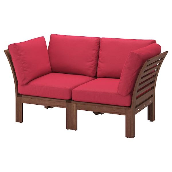 ÄPPLARÖ 2-seat modular sofa, outdoor brown stained/Frösön/Duvholmen red 160 cm 80 cm 84 cm 49 cm 40 cm