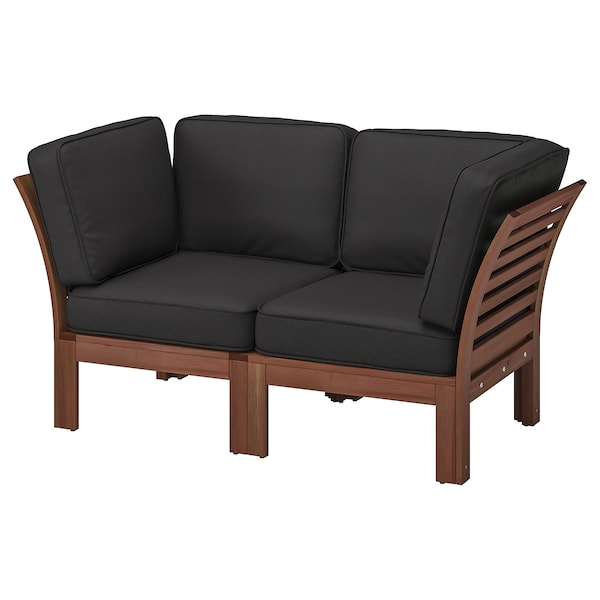 ÄPPLARÖ 2-seat modular sofa, outdoor brown stained/Järpön/Duvholmen anthracite 160 cm 80 cm 86 cm 47 cm 42 cm