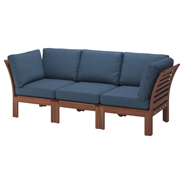 ÄPPLARÖ 3-seat modular sofa, outdoor brown stained/Frösön/Duvholmen blue 223 cm 80 cm 84 cm 49 cm 40 cm