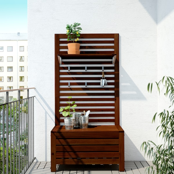 IKEA ÄPPLARÖ Bench w wall panel+ shelf, outdoor