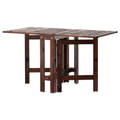 ÄPPLARÖ gateleg table, outdoor brown stained 77 cm 20 cm 133 cm 62 cm 71 cm