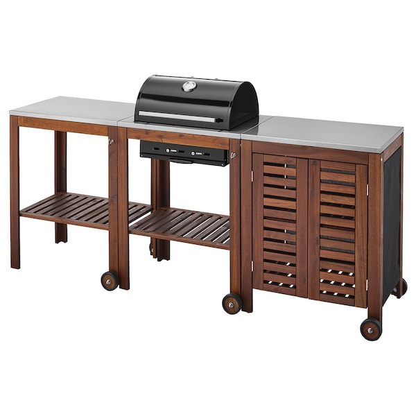 ÄPPLARÖ / KLASEN charcoal barbecue w trolley/cabinet brown stained/stainless steel colour 217 cm 58 cm 109 cm