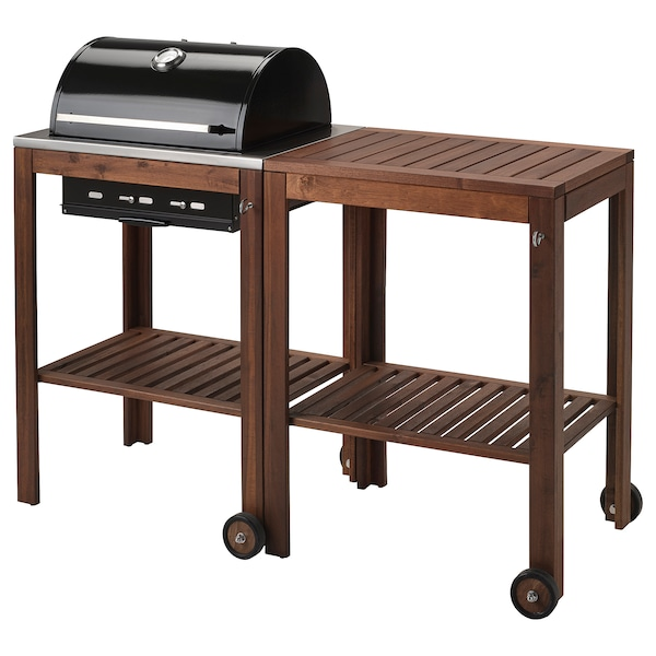 ÄPPLARÖ / KLASEN charcoal barbecue with trolley brown stained 147 cm 58 cm 109 cm