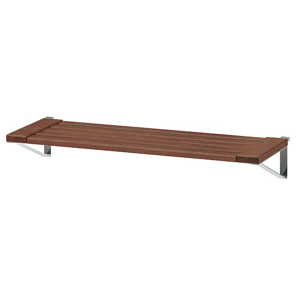 ÄPPLARÖ shelf for wall panel, outdoor brown stained 68 cm 27 cm 2 cm