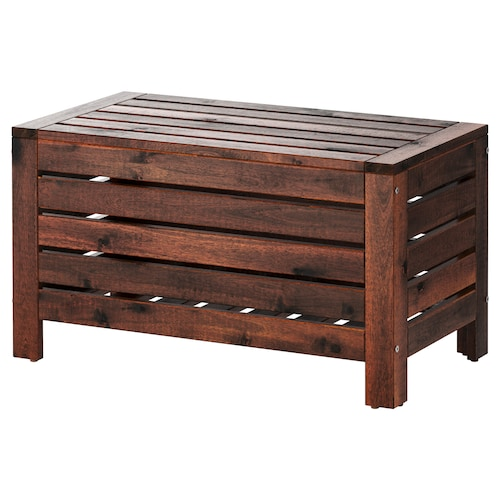 ÄPPLARÖ storage bench, outdoor brown stained 80 cm 41 cm 44 cm