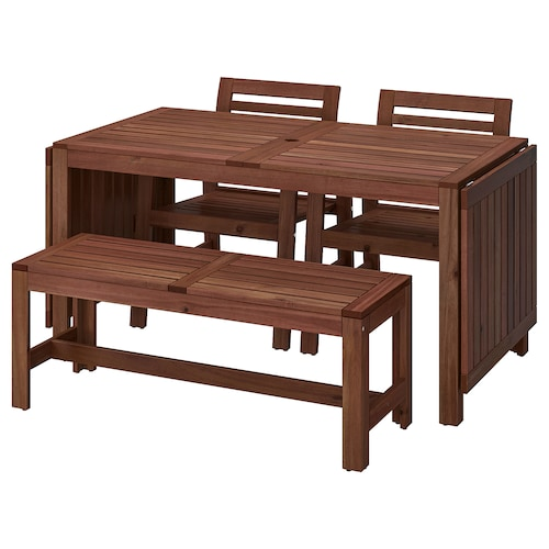ÄPPLARÖ Table+2 chrs w armr+bench, outdoor brown stained