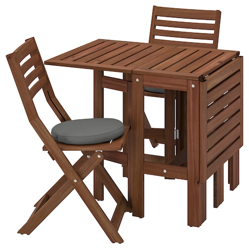 ÄPPLARÖ Table+2 folding chairs, outdoor, brown stained/Frösön/Duvholmen dark grey