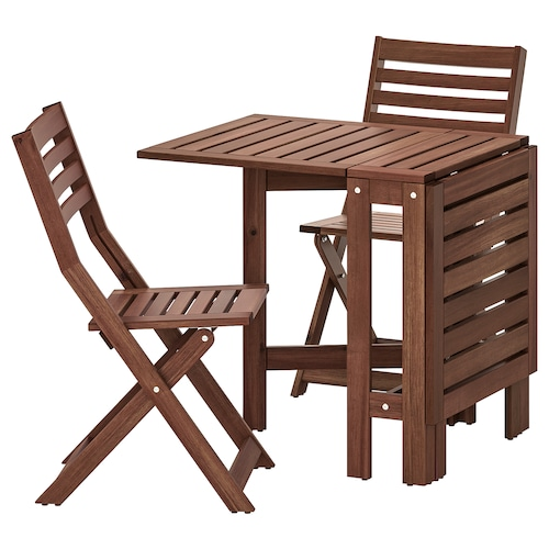 ÄPPLARÖ table+2 folding chairs, outdoor brown stained