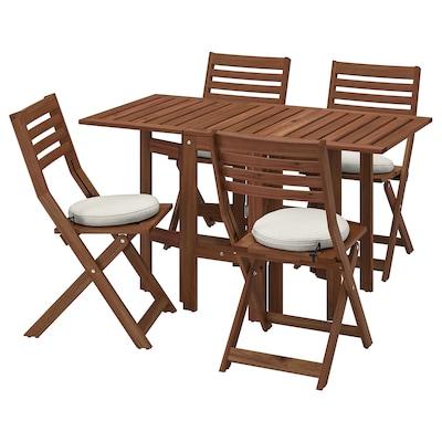 ÄPPLARÖ Table+4 folding chairs, outdoor, brown stained/Frösön/Duvholmen beige