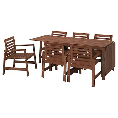 ÄPPLARÖ Table+6 chairs w armrests, outdoor, brown stained