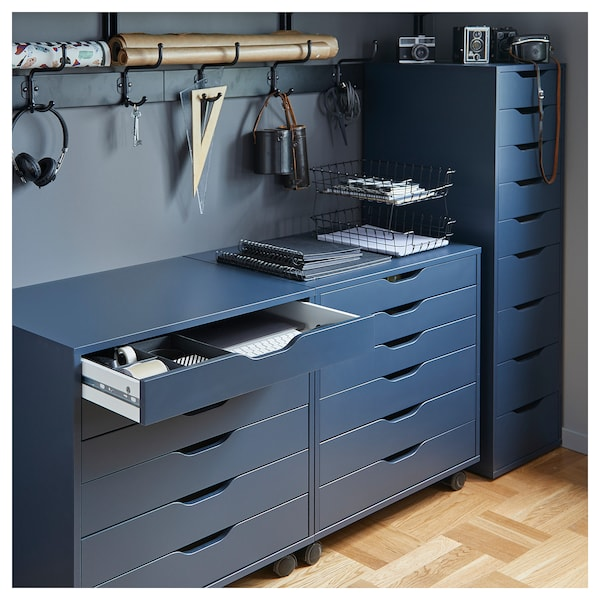 ALEX Drawer unit on castors, blue, 67x66 cm