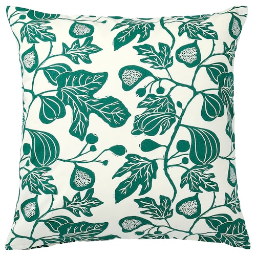 ALPKLÖVER cushion cover natural/dark green 50 cm 50 cm