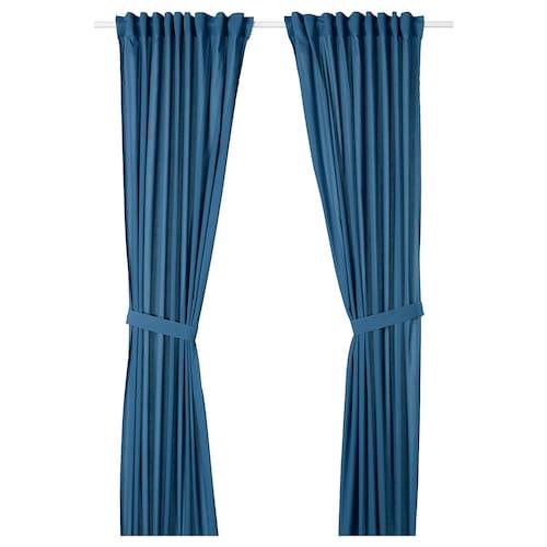 AMILDE curtains with tie-backs, 1 pair blue 250 cm 145 cm 1.29 kg 3.63 m² 2 pack