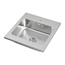 AMMERÅN onset sink, 1 bowl, stainless steel