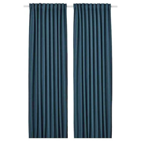 ANNAKAJSA Room darkening curtains, 1 pair, blue, 145x250 cm