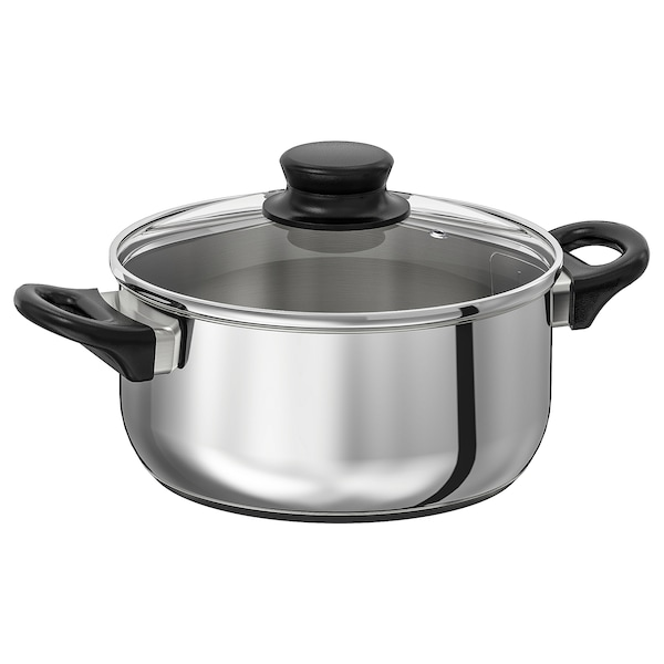ANNONS pot with lid glass/stainless steel 10 cm 21 cm 2.8 l
