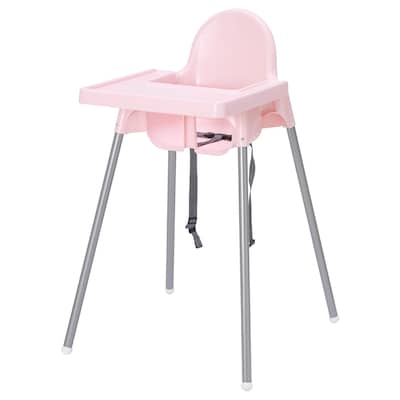 ANTILOP Highchair with tray, pink/silver-colour