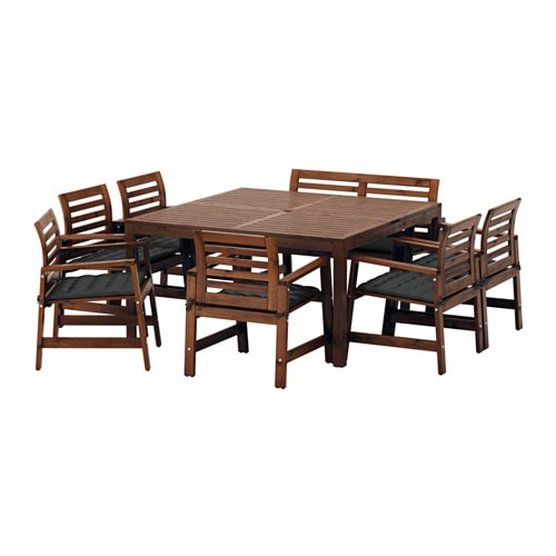 Excellent Applaro Table 6 Chairs Armr Bench Outdoor Brown Stained Hallo Black Gmtry Best Dining Table And Chair Ideas Images Gmtryco