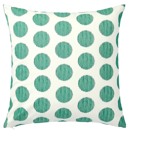 ÅSATILDA Cushion cover, natural dark green/dotted, 50x50 cm