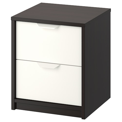 ASKVOLL chest of 2 drawers black-brown/white 41 cm 41 cm 49 cm 32 cm 33 cm 4 kg