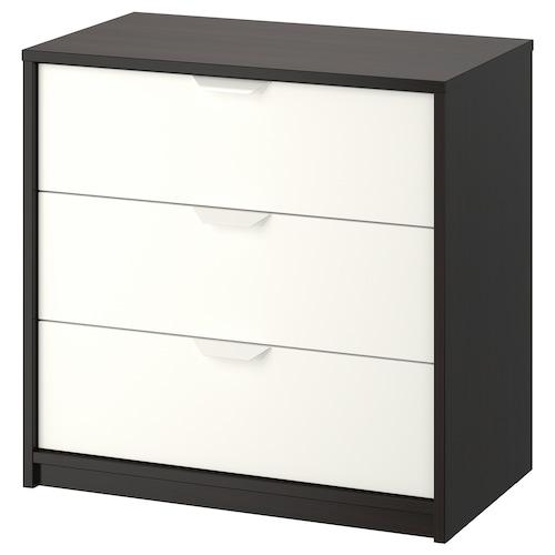 ASKVOLL chest of 3 drawers black-brown/white 70 cm 41 cm 69 cm 62 cm 33 cm 7 kg