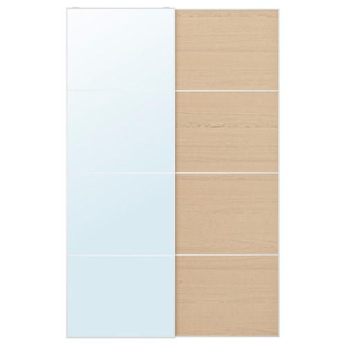 AULI / MEHAMN pair of sliding doors mirror glass/white stained oak effect 150 cm 236 cm 8.0 cm 2.3 cm