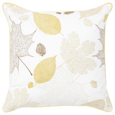 BACKKLÖVER Cushion, leaves yellow/brown, 50x50 cm