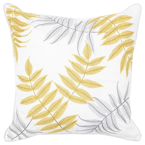 BACKKLÖVER cushion leaves yellow/grey 50 cm 50 cm 465 g 500 g