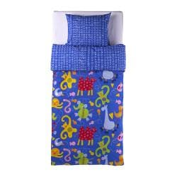 BARNSLIG DJUR quilt cover and pillowcase, blue