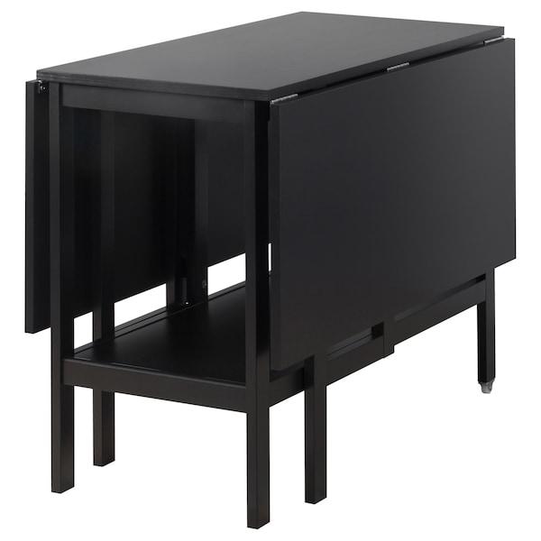 BARSVIKEN Drop-leaf table, black, 45/90/135x93 cm