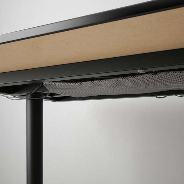 BEKANT Desk, black stained ash veneer/black, 160x80 cm