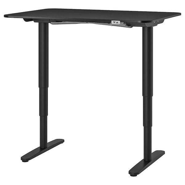 BEKANT desk sit/stand black stained ash veneer/black 120 cm 80 cm 65 cm 125 cm 70 kg