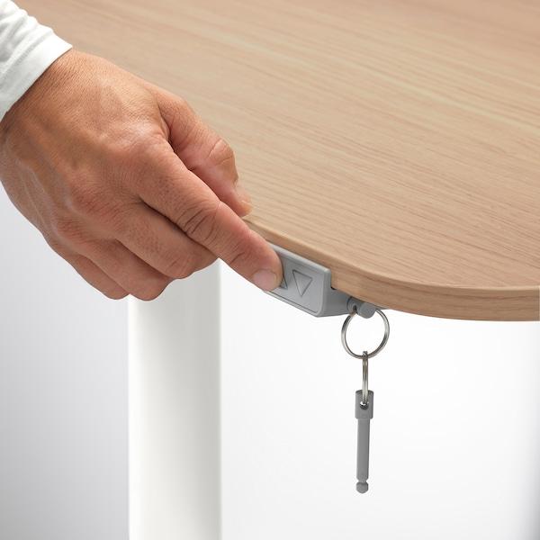 BEKANT desk sit/stand white stained oak veneer/white 120 cm 80 cm 65 cm 125 cm 70 kg