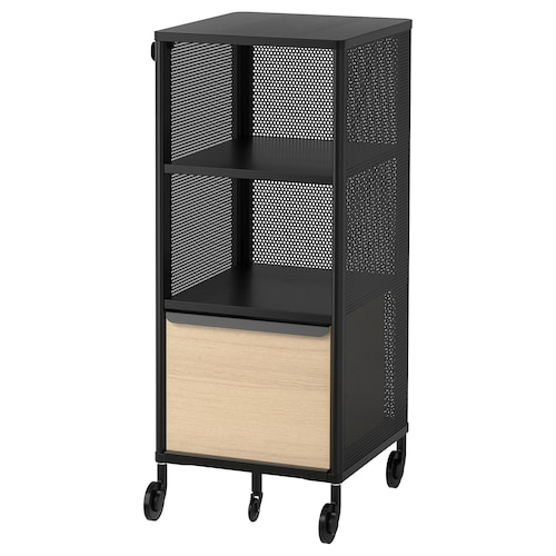 BEKANT storage unit with smart lock mesh black 41 cm 45 cm 101 cm