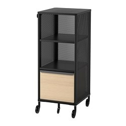 BEKANT storage unit with smart lock, mesh black