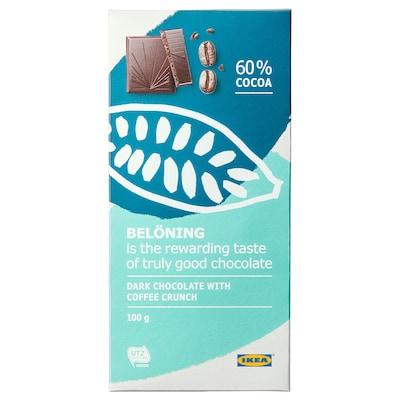 BELÖNING Dark chocolate tablet 60%, coffee crunch UTZ certified, 100 g