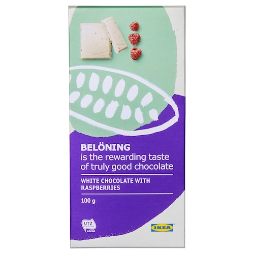 BELÖNING White chocolate tablet, raspberries UTZ certified, 100 g