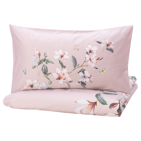 BERGBRÄKEN Quilt cover and 2 pillowcases, pink/floral patterned, 200x230/50x80 cm