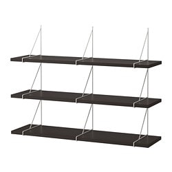 BERGSHULT /  PERSHULT wall shelf combination, brown-black, white