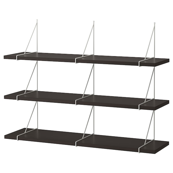 BERGSHULT / PERSHULT wall shelf combination brown-black/white 120 cm 30 cm
