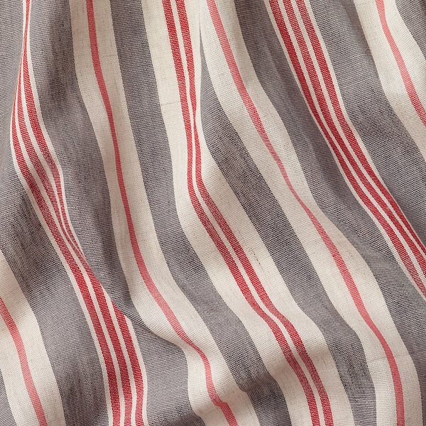 BERGSKRABBA curtains, 1 pair grey/red striped 250 cm 145 cm 1.08 kg 3.63 m² 2 pack