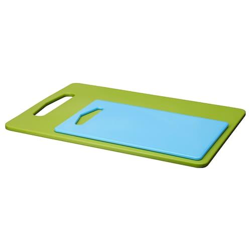 BERGTUNGA chopping board, set of 2 green/blue